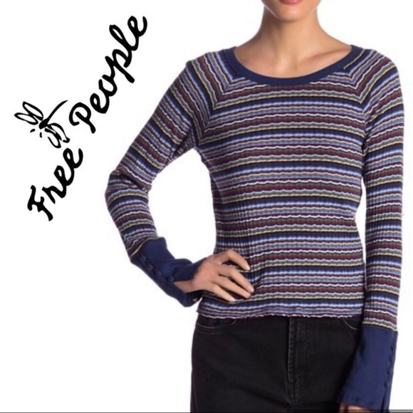 Free People Tops - Blue Top FREE PEOPLE Striped Ribbed Soft  NWT